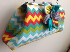 CLUTCH - Handmade Multicolored Chevron Fabric w/ Flower