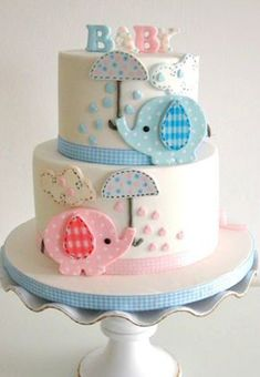 Elephant Baby Shower Cake - LOVE this for a twins baby shower or even gender reveal! Baby Cakes, Baby Shower Cakes, Baby Shower Pasta, Gateau Baby Shower, Elephant Baby Shower Cake, Cupcake Cakes, Elephant Theme, Elephant Cupcakes, Fondant Cupcakes