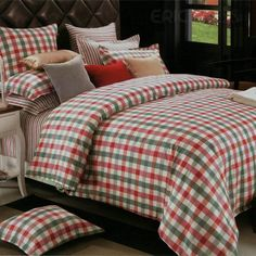 $ 75.99 Lovely Country-Plaid Cotton 4-piece Full Size Duvet Covers