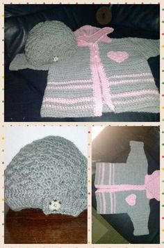 cappellino e golfino in lana per bimba