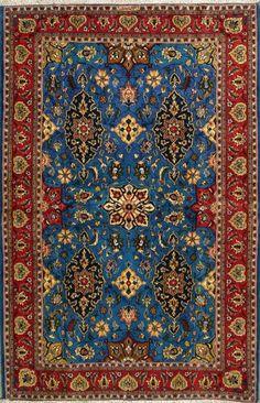 """Qum Persian Rug 4' 5"""" x 6' 7"""", Authentic Qum Handmade Rug"""