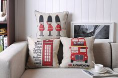 "Natural Linen Cushion Cover/ Burlap Pillow/ Throw Pillow Cover, London Theme. Available 17""x 17"""
