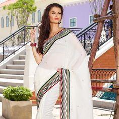 White Art Silk Saree with Blouse