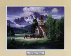 Western Church is one of my all time favorites too. I purchased this beautiful print by Jack Sorenson for my husbands office and since he is now retired from the Navy it hangs in our living room.