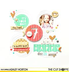 """The Cut Shoppe: Hi 7 by Ashley Horton uses """"It's My Party"""", """"Alphabet Soup"""" and """"Tiny Type"""" cut files."""