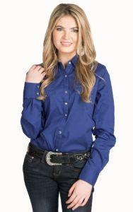 Wrangler Women's Solid Blue Performance Sleeve Woven Western Shirt | Cavender's