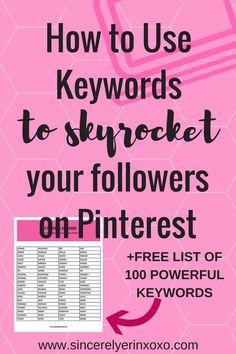 How to use keywords on Pinterest to skyrocket followers on Pinterest