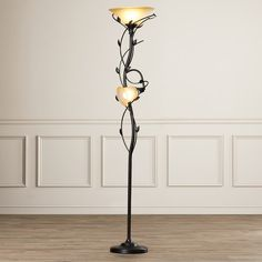 """Features:  -Durable construction.  -Fixed arm holding the lower lamp in position.  -Second lamp is 52"""" high from the base.  -Includes 14"""" and 6"""" glass shades.  -Reading light can be turned off: Yes."""