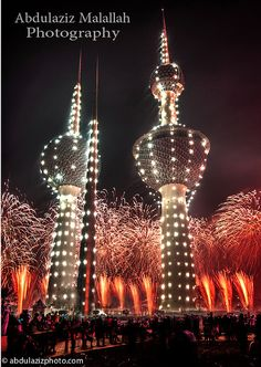 Fireworks in Kuwait, by Abdulaziz Malallah Kuwait National Day, Night Scenery, Fire Works, Richest In The World, New Year Celebration, Night Lights, Travel And Leisure, Beautiful Islands, Towers
