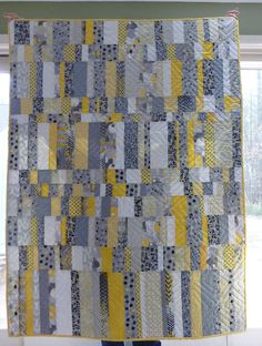 Yellow & Gray Lap Quilt or Baby Quilt - Large 45 by 60 modern patchwork, available on Etsy, $165