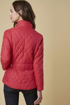 """Smyths Barbour Cavalry Flyweight quilt in Bright Red called """"Raspberry Ripple """"is a superb, fashionable, fitted lightweight summer jacket in sizes 8 Raspberry Ripple, Summer Jacket, City Chic, Barbour, Body Shapes, Classic Style, Winter Jackets, Turtle Neck, Inspire"""