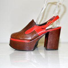Size 7.5 Vintage 70s Leather Tall Platform by RetroThreadzVintage, $200.00