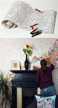 color in wallpaper.  I could see using this inside a picture fram or within picture molding but a whole wall of it might be too much of a good thing.