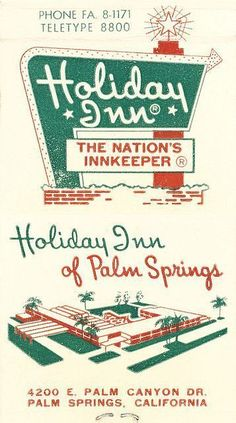 Advertising-Holiday Inn of Palm Springs Travel Advertising/ Vintage Ad/ Holiday/ Hotel/ Illustration 1960s Advertising, Vintage Advertisements, Vintage Ads, Vintage Prints, Vintage Tiki, Vintage Advertising Posters, Retro Posters, Vintage Graphic, Vintage Stuff