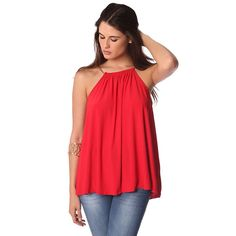 Red halter top with gold-tone chain straps – Fashion Gal Freedom