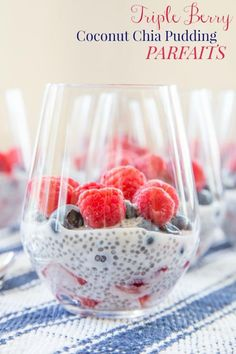 Triple Berry Coconut Chia Pudding Parfaits  - a light and healthy dessert or breakfast perfect for Memorial Day, Fourth of July, Labor Day, or any summer day when strawberries, blueberries, and raspberries are in season!   cupcakesandkalechips.com   gluten free, vegan, paleo recipe