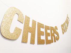 """CUSTOM Gold Glitter Banner - 5.0"""" Tall. Gold Glitter Letters. Bachelorette. First Birthday. Baby Shower. Bridal Shower. Engagement. Wedding."""