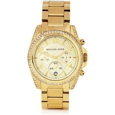 Michael Kors Watches Gold Runway Watch With Glitz ($274) ❤ liked on Polyvore featuring jewelry, watches, accessories, bracelets, relojes, women, gold watch bracelet, gold wristwatches, chronograph watch and michael kors jewelry