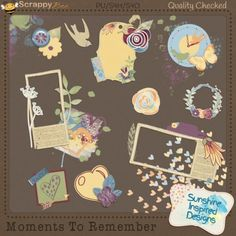 Moments To Remember - Elements {PU/S4H} The Moments To Remember collection is perfect to document the Simple Life and cherish everyday moments. The elements pack includes 80 unique elements such as cork frames, cork bird silhouettes, wooden butterflies, lots 0f paint splatters, tags, washi tapes, watercolor florals and leaves, flower stickers and much more. This pack coordinates with Moments To Remember papers, word art, journaling cards and quick pages.
