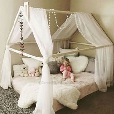 Wood Bed FULL/DOUBLE Toddler Bed Tent Bed Wooden House Bed Kleinkind Zimmer,  Teenager