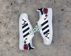 Custom Adidas Superstar for men and women, Adidas custom Hand Painted floral design, Unisex sizes, Adidas superstar, Original by CustomSneakz on Etsy