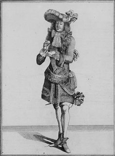 Officier, The hat begins to be gently cocked up, adorned with ostrich plumes, arranged in a radial. Small ribbon bows on each sides of his wig in the front. The baldrick is very broad. Note: the sash with a tasselled fringe, knotted on the left side, 1675. French