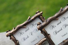 Rustic Wedding Place Card Holders, Fall Wedding, Outdoor, Country, Barn Wedding, Rustic Twig - Set of 10