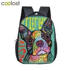 272e75d8 Boston Terrier Backpack Children School Bag Backpacks Kids Cartoon  Kindergarten Backpack Dog Book bag Graffiti Animal Kawaii Bag