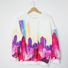 Vibrant city skyline scuba print jumper with elasticated neckline and cuffs.