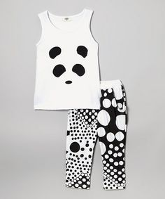 Another great find on #zulily! White Panda Tank & Polka Dot Harem Pants - Girls by Leighton Alexander #zulilyfinds