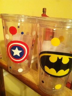 Superhero themed personalized acrylic tumbler