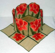 Lace Bowl & Doily - Amaryllis  Though only 4 basic designs, the possibilities are endless! You can use the squares as bowl bottoms to create all sizes of square and rectangular bowls. Or, following the instructions included, use a fabric bottom as I did in the 6 sided bowl below. You receive templates to make 5 and 6 sided bottoms in all three sizes.