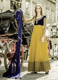 An superb mustard georgette anarkali salwar suit will make you appear too stylish and graceful. The desirable embroidered and resham work a intensive element of this attire. Comes with matching bottom...