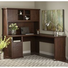 Bush Furniture Yorktown L-Shaped Desk with Optional Hutch | from hayneedle.com