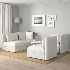 VALLENTUNA Modular corner sofa, 3-seat, with storage/Orrsta light gray - IKEA Modular Corner Sofa, Corner Sectional Sofa, Modular Sectional Sofa, White Leather Sofas, Leather Sofa Bed, Ikea Living Room, Living Room Sets, Sofa Design, Living Room Without Tv
