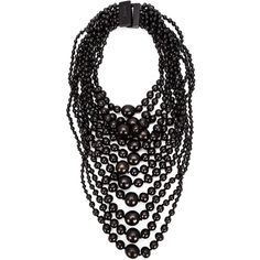 Monies tiered round bead necklace featuring polyvore, fashion, jewelry, necklaces, black, black jewelry, wood bead necklace, beads jewellery, bead necklace and black bead necklace