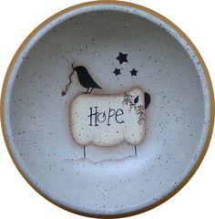 Folk Art Bowl Sheep Crow Hope Hand Painted Wood by CarolAnnsTole, $6.95