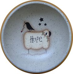 Folk Art Bowl Sheep Crow Hope Hand Painted Wood by CarolAnnsTole, $6.95