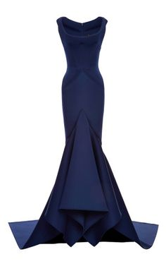 Solid Neoprene Flared Gown by Zac Posen - Moda Operandi $4,200.00