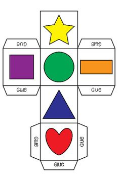 The shapes game contains 2 DIY dices and 2 worksheets. The dices have been saved in color and black and white. The object of the game is to throw the dice and answer a question on the worksheet. You need to throw each shape 3 times to complete a column. Toddler Learning, Preschool Learning, Teaching Kids, Teaching Shapes, Preschool Worksheets, Preschool Activities, Math For Kids, Crafts For Kids, Shape Games