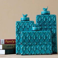 Deko-Vase, Deko-Dose mit Deckel aus Keramik, glasiert