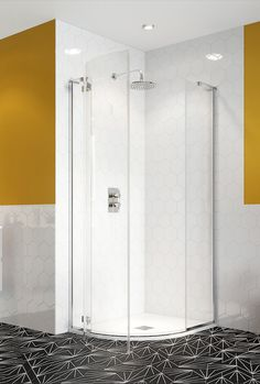 Ideal for new homeowners or more compact bathrooms, these designs feature premium hardware, toughened glass, a protective finish, sleek modern profiles, and a selection of sizes, style and shapes – perfect for any bathroom application. Shower Enclosure, Single Doors, Yellow Bathrooms, Bathroom Space, New Homeowner, Modern, Home Decor, Compact Bathroom, Bathroom