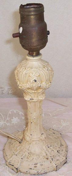 Heavy Cream Painted ANTIQUE Roses & Flowers Embossed Cast Iron Lamp