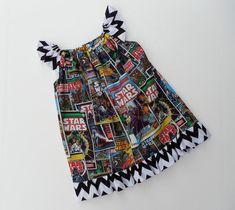 Girls Toddler Clothing Marvel Comics Star Wars Retro Comic Black and White Chevron Flutter Sleeve Ruffle Peasant Dress