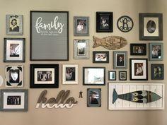 Photo collage wall blue grey white nod to Beachy vibe
