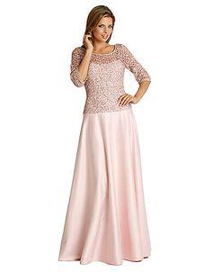 Chiffon V-Neck 3/4 Sleeve Long Slim Lace Mother Of The Bride Dress ...