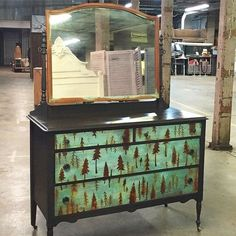 Chalk Paint® and Metal Effects patinas help create a stunning patina finish on this vanity dresser for Re.invent.ed | Stencil by Royal Design Studio | Pretty Furniture Patina Projects