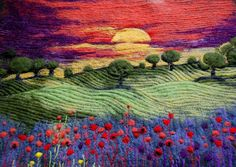 Needle felted landscape picture cushion with embroidered detail TAFA: The Textile and Fiber Art List: Indra