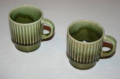 Mid Century Modern Set of Two Sage Green Woodland Coffee Cup Mugs - Japan - 1950s 1960s
