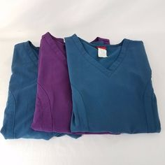 Dickies Scrub Top Size Medium Lot of 3 Style 82851 Two Green and One Purple Tops #Dickies